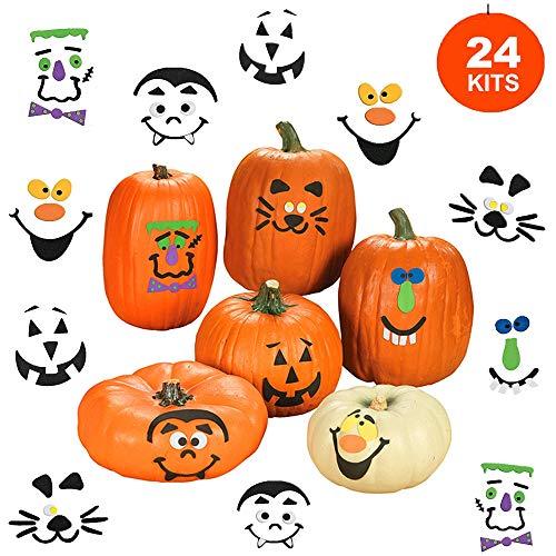 4E's Novelty Halloween Pumpkin Foam Stickers 24 Pack Decorating Kit Decorates 24 Pumpkins – for Jack-o-Lantern Decoration Trick or Treat Party Favors