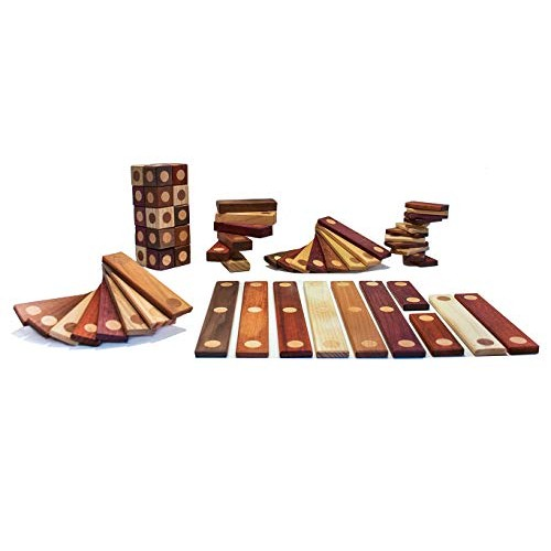 INTELBLOx 64-Piece Magnetic Wooden Blocks Wood Toy Set Assorted Exotic Woods 3D Building Construction Kit Toys Tiles Creative Educational Boys and Girls