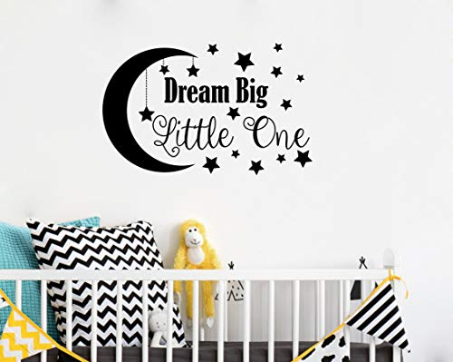 Dream Big Little One Wall Decal Nursery Decor Quote Removable Vinyl Stickers For Baby Kids Boy Girl Bedroom A34 Big Black Educational Toys Planet