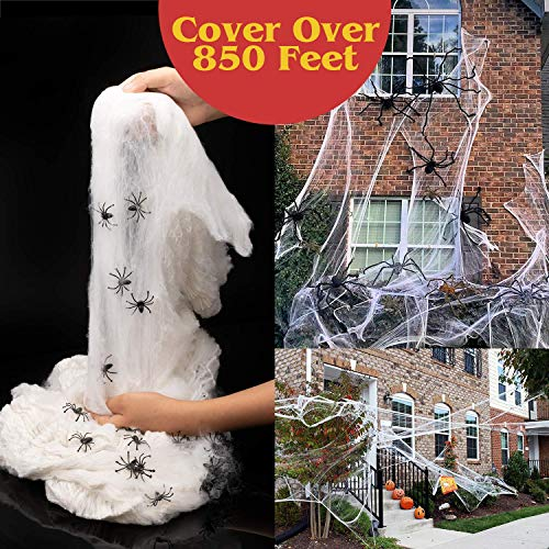 HENMI Halloween Spider Web 113oz Fake Web& Webbing with 80 Spiders Super Stretch Cobweb Set Stretch to 850 Square Feet for Outdoor and Indoor Decor Spiderwebs Cobwebs