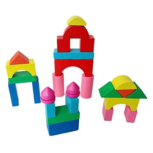 HENGSONG Kid Wooden Mini Castle Building Blocks Geometric Shape Educational Toys Game