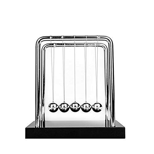 IUU Newtons Cradle Balance Balls Metal Ball Art in Motion Toy with Stainless Steel Frame and Solid Wooden Base Black Medium Size