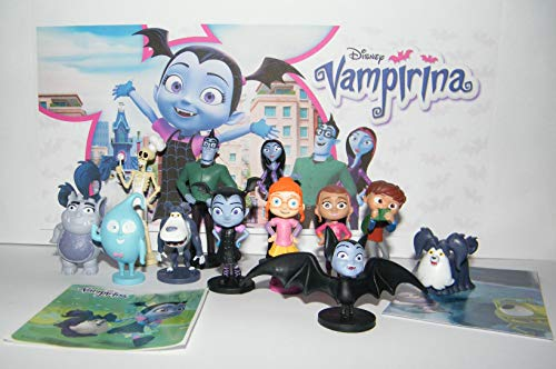 Disney Vampirina Deluxe Figure Set of 14 Toy Kit with 12 Figures and 2 Fun Stickers Featuring The Hauntley Family Ghost Gargoyle Wolfie More