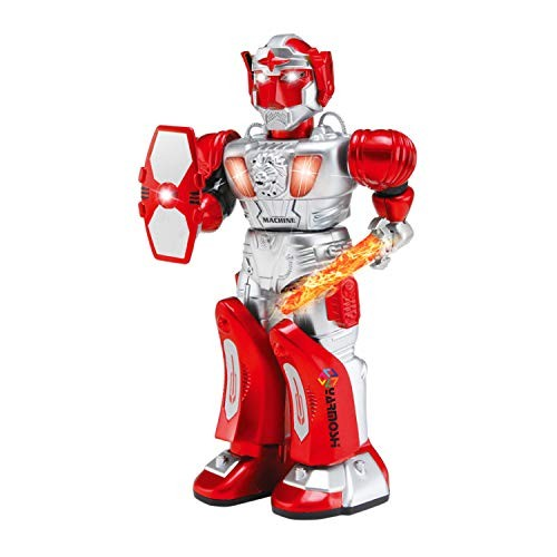 YARMOSHI Walking Robot – Toy with Gun and Firing Sounds Battery Operated Has Moving Arms Flashing Lights Makes Battle Talks Fun Gift for Age 3+ Red Warrior
