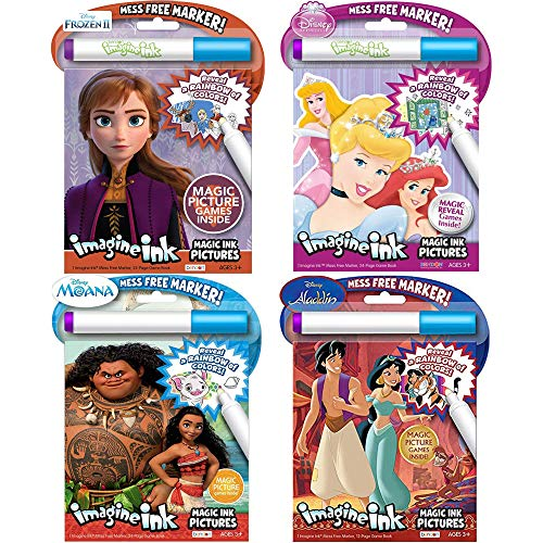 Disney Mess Free Marker Coloring Activity Book 4-Pack with Calendar Bag Frozen Aladdin Moana and Sleeping Beauty