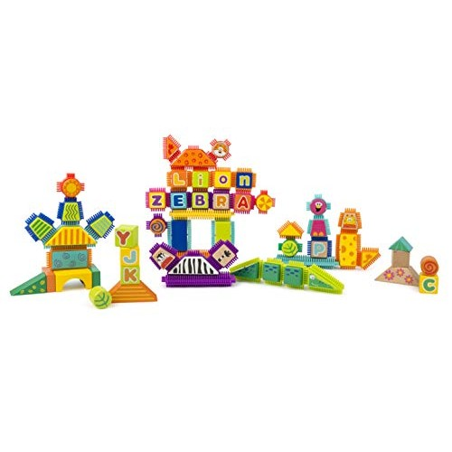 Small Foot Wooden Toys Safari Theme Wood and Knobs Building Blocks 150 Piece playset Designed for Children 12+ Months