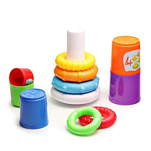 infunbebe Stacking Toys 2 in 1 Cups and Ring for Toddlers Educational Stacker Baby from 6 Months Multicolor