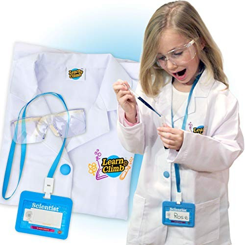 Lab Coat for Kids – Children's with Adjustable Glasses & Personalized ID Card Great Toy Science Projects Experiments