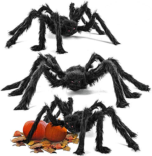 THE TWIDDLERS 75cm Giant Scary Spiders Large Black Spider Big Halloween Party Decoration Decor House Display