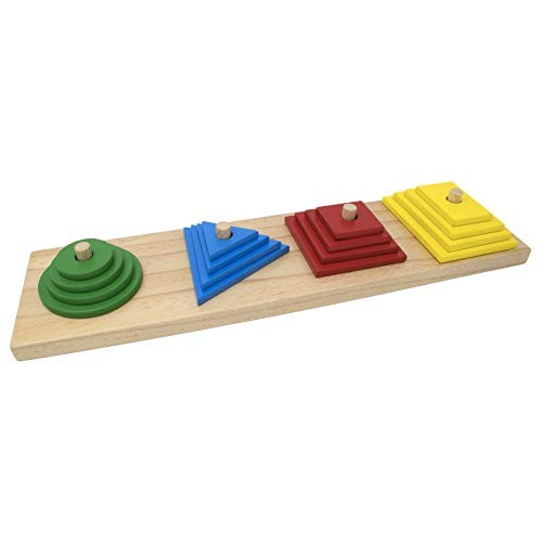 Explearn Wooden Stack and Sort Board Multisize – Teach Geometric Shapes & Scaling Concept Motor Skills Early Learning Educational Toy for Kids