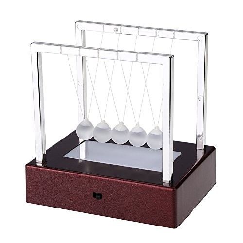 Zerodis LED Light Up Newton Cradle Balance Balls Swing Glass Ball Science Psychology Puzzle Desk Fun Toy for Office Home Decoration