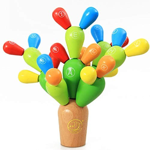 Elloapic Wooden Assembly Balancing ABC Letter Cactus Removable DIY Building Toys Stacking Blocks 3D Puzzle Games for Kids