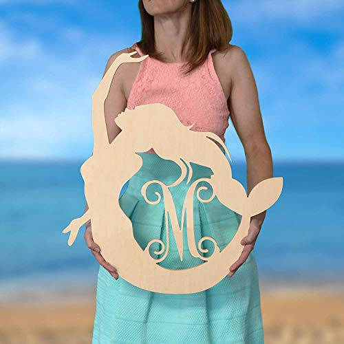 SALE 12-36 inch Mermaid Monogram – Large Wooden decoration personalized custom wall hanging Nursery Under the Sea