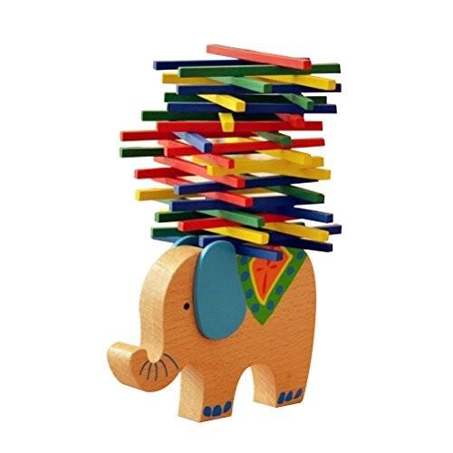 STOBOK Wooden Stacking Building Blocks Toddlers Balancing Toys Games Playset Educational for Kids Children Elephant