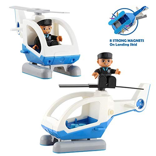 Flying Helicopter Toy Police Set with Magnets Policeman Toys Add on Sets for Magnetic Blocks Tiles Expansion Kids Educational STEM Learning Boys and Girls 2 Pack