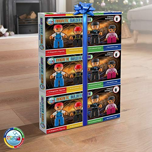 Magnetic Figures Set of 4 Toy People Tiles Expansion Pack for Boys and Girls Nurse Builder Fireman Police Educational STEM Toys Add on Sets Blocks 3 Pack