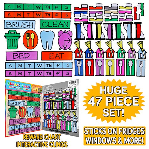 Gel Cling Reward Chart for Toddlers and Kids Unique Interactive Way to Learn Reusable Thick Gels Stick Most Surfaces Help with Chores Tasks Eating Clean Brush Teeth Sleep