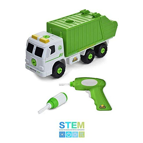 Take Apart Recycling Truck with Sounds Power Drill Build Your Own Garbage 30 Piece Set Educational STEM Toys for Toddlers Engineering Building Kit Ages 3 to 6