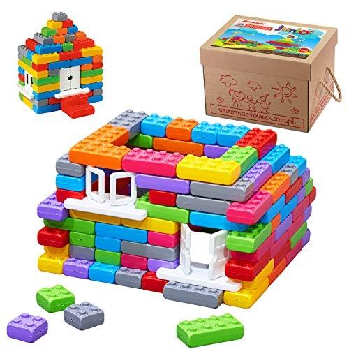 Marioinex 902387 Building Blocks Junior Bricks 140 Pieces Window with Doors Multi-Colour