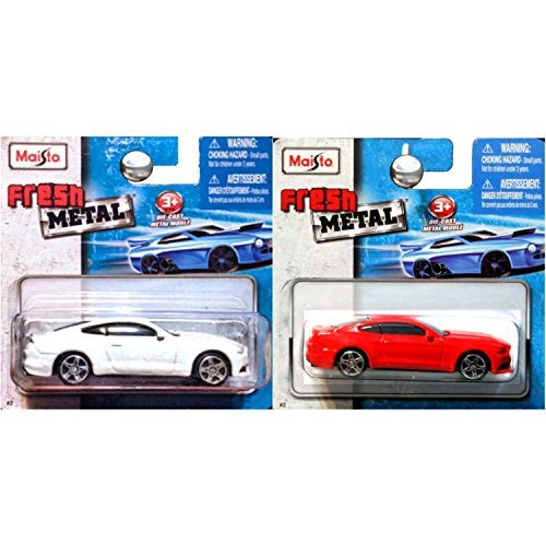Maisto Fresh Metal 1:64 2015 Ford Mustang GT in Red and White Set of