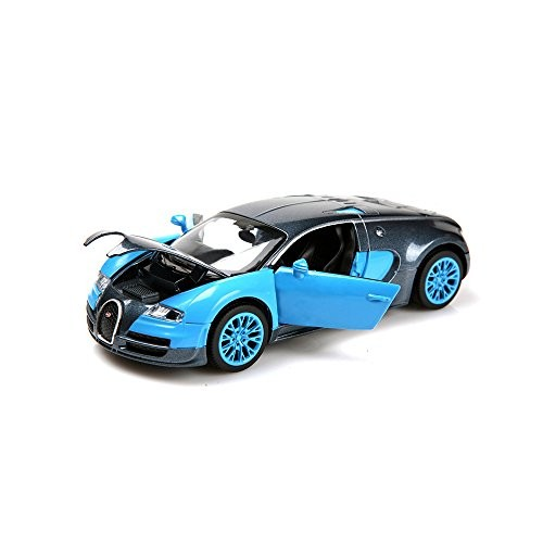 ZHFUYS Model Cars1:32 Bugatti Veyron Alloy Diecast Cars with Light&Sound(Blue)