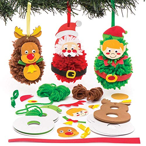 Baker Ross Christmas Pom Poms Decoration Kits Creative Art and Craft Supplies for Kids to Make Decorate Pack of 3