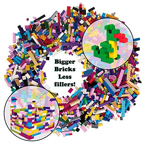 SCS Direct 2000 Pc Bulk Building Bricks Set- 18 Colors Pastel and Rainbow in 13 Shapes- Tight Fit w All Major Brands