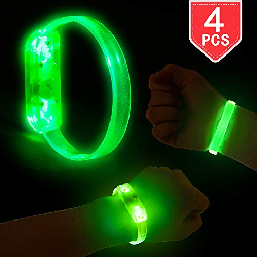 PROLOSO LED Light Up Bracelets Green Wristbands 4 Pieces for Concerts Festivals Sports Parties Night Events