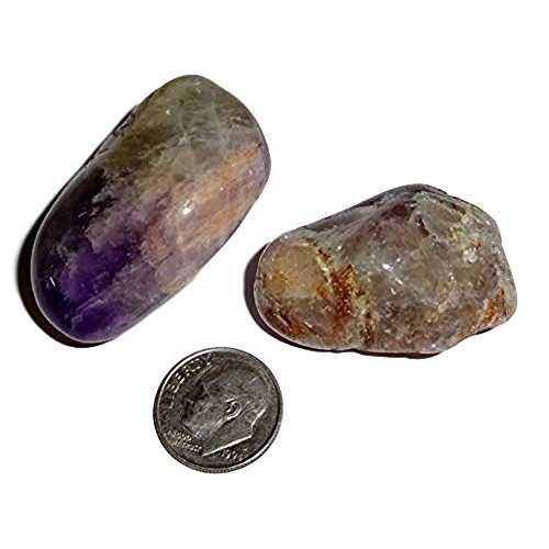 Sublime Gifts 2pc Set Auralite 23 Large Natural A-Grade Tumbled & Polished Amazing Color Markings Healing Crystal Gemstone