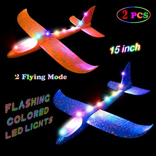 2 pcs Flashing Luminous Glider Plane Flight Mode Aerobatic Superb Charming Shining Foam Airplane can Fly at Night for Kids as The Best Giftby MIMIDOU