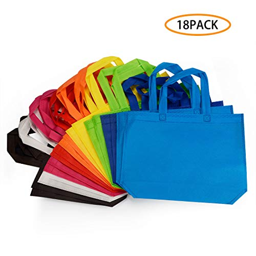 18 Pack Party Gift Tote Bag 10 x13 Inch Non Woven Bags with Handles for Birthday Favors Snacks 9 Colors