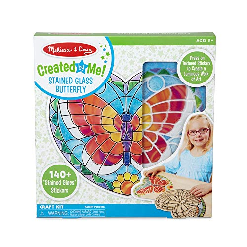 Melissa & Doug Created by Me Peel-and-Press Stained Glass Butterfly Craft Kit
