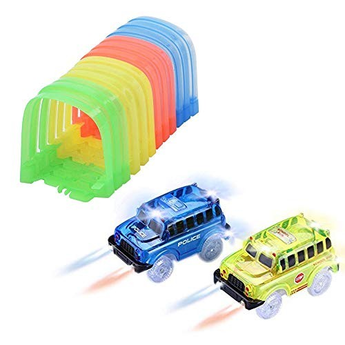 ONTOPON Track Accessories with 2 Pack School Bus- Tunnel with 5 LED Lights Toy