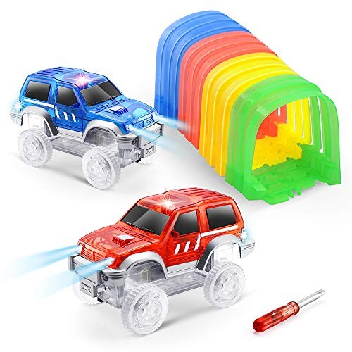 ONTOPON Magic DIY Track Accessory with 2 Toy Car- Tunnel add LED Car (2