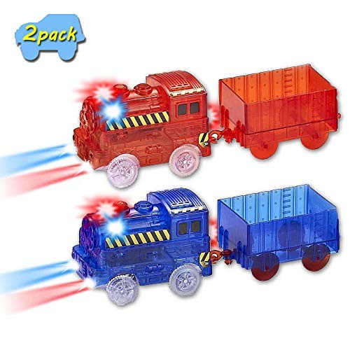 VINSOO Magic Cars (2-Pack) Track Train  Multi-Color Light Up Flashing LED Glow in