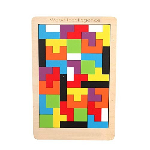 elecfan Wooden Tetris Puzzle Toy Intelligence Building Blocks for Children Colorful Toys Educational Kids Toddlers Gift Activity Center