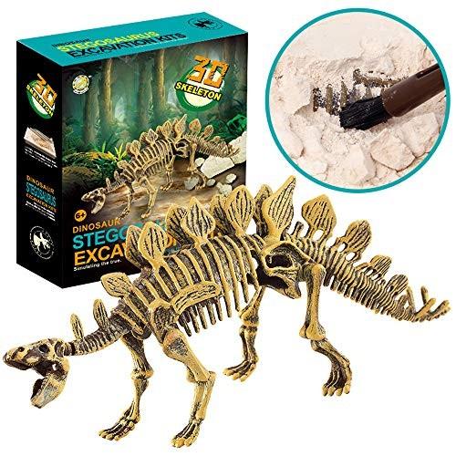 Huikai Science Educational Dinosaur Fossil Dig Kit Toys for Kids Digging Excavation Tools Stegosaurus