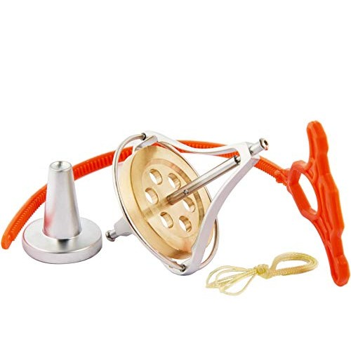 Joytech Precision Gyroscope Kill Time Metal Anti-Gravity Balance Toy Brass Wheel Silver Rim Spinning Top JA08
