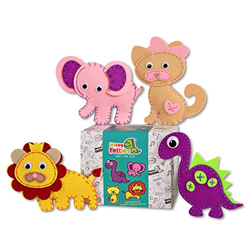 Happy Felties – Cuddly Friends Felt Animal Crafting Sewing Kit and Crafts Fun DIY Stuffed Sew Kits for Kids Beginner Friendly