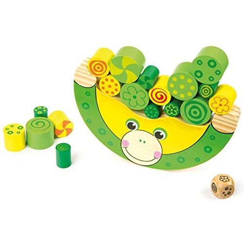 Small Foot Wooden Toys Stacking Frog Balancing Game with dice Move it Designed for Children Ages 3+
