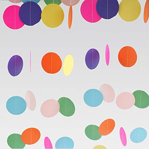 DEPONG Colorful Paper Garland Circle Dots Hanging Decorations Rainbow Sprinkle for Birthday Party Wedding and Classroom – 4pcs