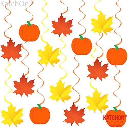 Autumn Hanging Swirls Thanksgiving Decorations Pack of 35 Pumpkin and Maple Leaf Fall Themed Supplies No DIY Required Great for Birthday Party Outdoor Garden Home Office Decor Kit