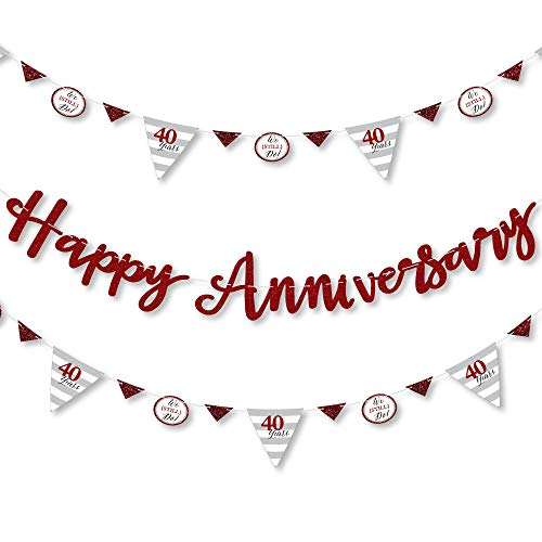 Big Dot of Happiness We Still Do – 40th Wedding Anniversary Party Letter Banner Decoration 36 Cutouts and Happy Letters