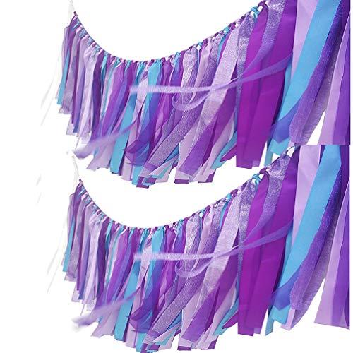 AZOWA Assembled Purple Blue Tassel Garland 2 Pack 40 in L x 14 H Mermaid