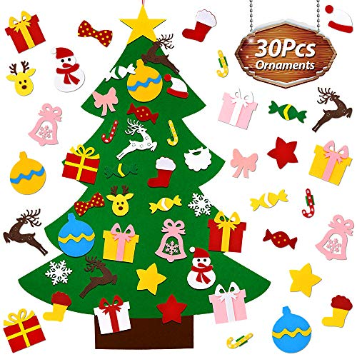UMIKU Felt Christmas Tree for Toddlers Kids Wall Decorations 30pcs Ornaments DIY xmas Gifts New Year Home Door Hanging Dcor 394 Inches