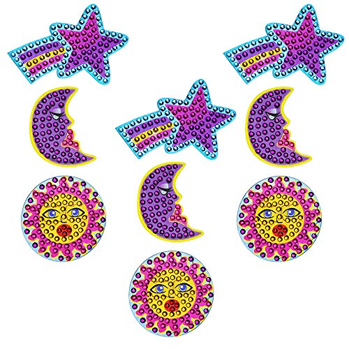 StickerBlingBling Gemz Crystal Rhinestone Celestial Trio Moon Star Sun 3 Pack Perfect for Water Bottles hydroflasks Phone Gear Back to School or as a Birthday Gift