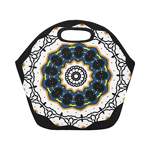 Insulated Neoprene Lunch Bag Mandala Design Cool Pretty Coloring Page Large Size Reusable Thermal Thick Tote Bags For Boxes Outdoorswork Office School