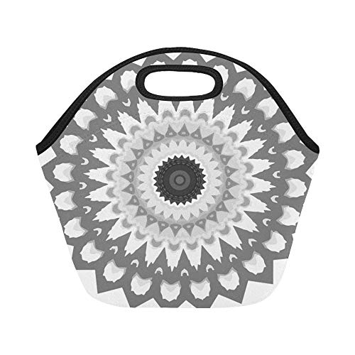 Insulated Neoprene Lunch Bag Mandala Calming Coloring Page Printable Printing Large Size Reusable Thermal Thick Tote Bags For Boxes Outdoorswork Office School