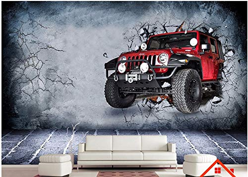Wall Stickers for Bedroom3D Stereo Off-Road car Breaks Out The to Decorate Dining Room Living Cafe Coffee StickerWall