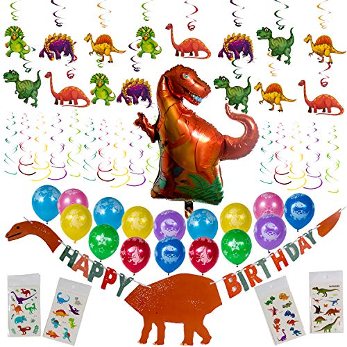 Artunique Dinosaur Party Supplies 52PC Decorations Kit Including Balloons 16 Happy Birthday Banner 1 Hanging Swirls 30 Mylar Balloon Tattoos 4 for